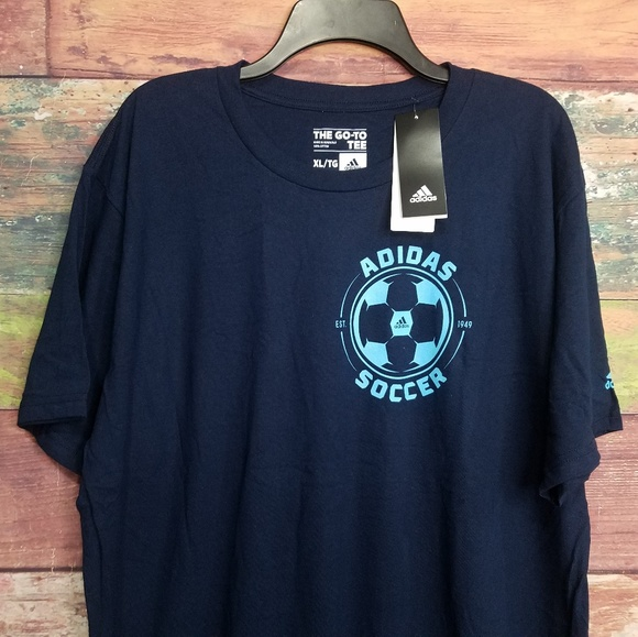 adidas Other - NEW Adidas navy blue soccer tshirt go to XL cotton